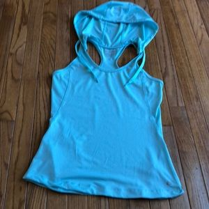 Pale turquoise perforated tank top